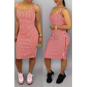 Lovely Casual Striped Pink Knee Length Dress(With