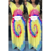 Lovely Casual V Neck Printed Yellow Floor Length D