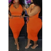 Lovely Casual O Neck Sleeveless Orange Two-piece Skirt Set