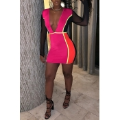 Lovely Women's Deep V-neck Patchwork One-piece Rom