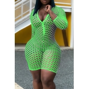 Lovely Sexy Hollow-out Green One-pice Romper