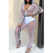Lovely Sexy Patchwork Mesh Design White One-piece