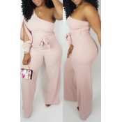Lovely Casual One Shoulder Light Pink One-piece Ju