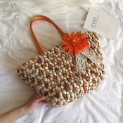 Lovely Straw Casual Patchwork Clutches Bags