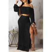 Lovely Sexy Hollow-out Tassel Design Black Two-pie