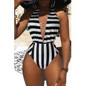 Lovely Casual Striped Black And White One-piece Sw