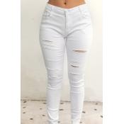 Lovely Stylish Broken Holes White Jeans