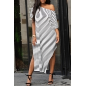 Lovely Leisure One Shoulder Striped White Floor Le