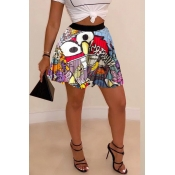 Lovely Casual Printed Drape Design Multicolor Skirt