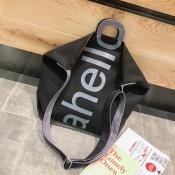 Lovely Fashion Letter Printed Black Crossbody Bag