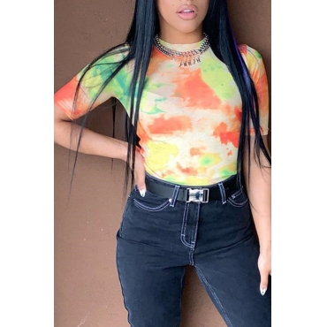 Lovely Casual Printed Skinny Multicolor T-shirt(Without Accessories)