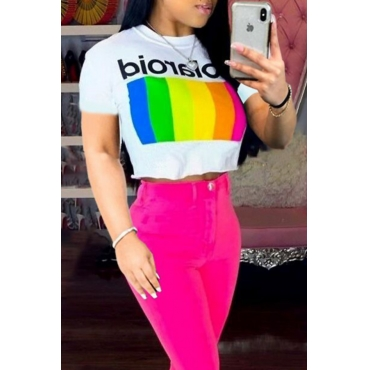 Lovely Leisure Rainbow White Short T-shirt