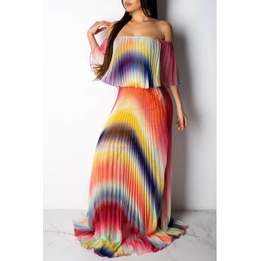 Lovely Casual Color-lump Multicolor Floor Length Dress