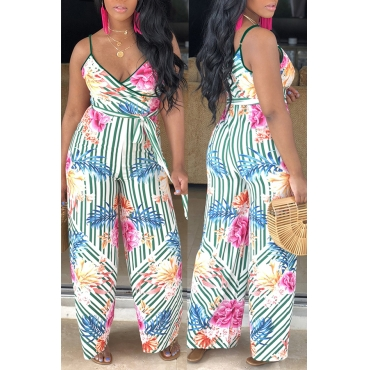 Lovely Bohemian Floral Printed Multicolor One-piece Jumpsuit
