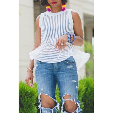 Lovely Casual Striped Patchwork White Blouses(Without Bra)