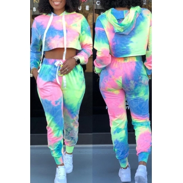 Lovely Casual Hooded Collar Multicolor Two-piece Pants Set