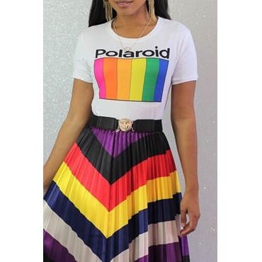 Lovely Leisure Rainbow White Short T-shirt