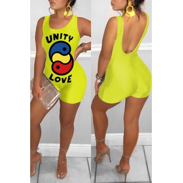 Lovely Casual Printed Backless Yellow One-piece Rompers(With Elastic)