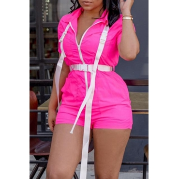Lovely Casual Zipper Design Rose Red One-piece Romper