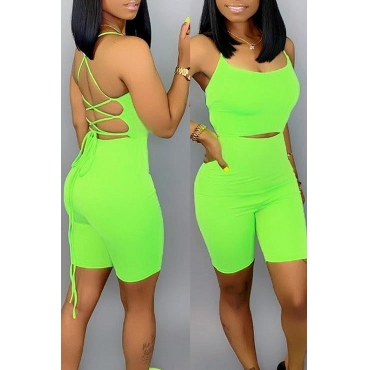 Lovely Sexy Lace-up Hollow-out Green One-piece Romper(With Elastic)