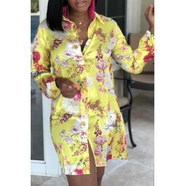 Lovely Sweet Floral Printed Patchwork Yellow Mini Dress