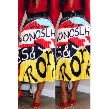 Lovely Bohemian Letter Printed Yellow Ankle Length A Line Skirt