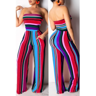 Lovely Casual Backless Striped One-piece Jumpsuit(With Elastic)