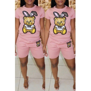 Lovely Casual Printed Pink Two-piece Shorts Set