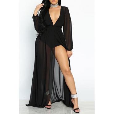 Lovely Sexy Deep V Neck Black Floor Length A Line Dress