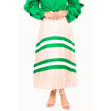 Lovely Casual Striped Green Ankle Length A Line Skirt