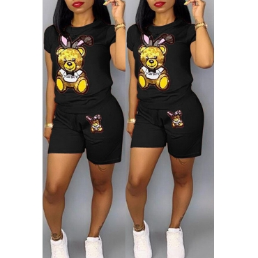 Lovely Casual Printed Black Two-piece Shorts Set