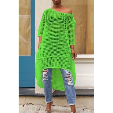 Lovely Casual Hollow-out Green Blouse