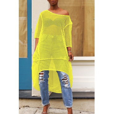 Lovely Casual Hollow-out Yellow Blouse