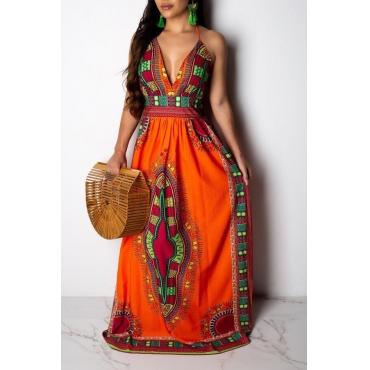 Lovely National Style Totem Printed  Floor Length Dress