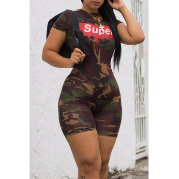 Lovely Casual Camouflage printed One-piece Jumpsuit(With Elastic)