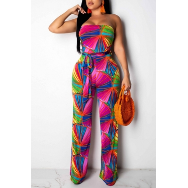 Lovely Off The Shoulder Printed One-piece Jumpsuit