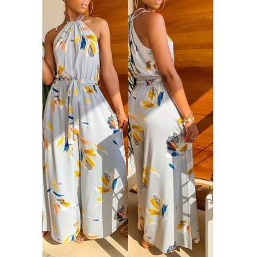 359d0c8223be 49 Lovely Bohemian Printed Grey One-piece Jumpsuit