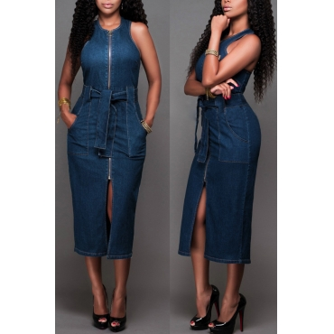 Precioso Vestido Casual Con Cuello O Diseño De Cremallera Azul