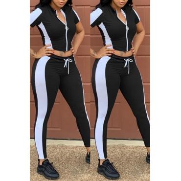 Precioso Conjunto De Pantalones De Dos Piezas De Patchwork Casual Negro