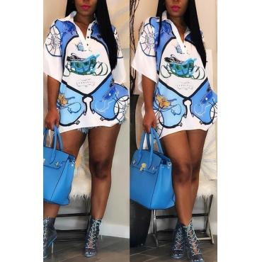Lovely Trendy Printed Blue Blouse