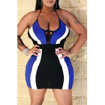 Lovely Sexy Striped Blue Mini  Dress