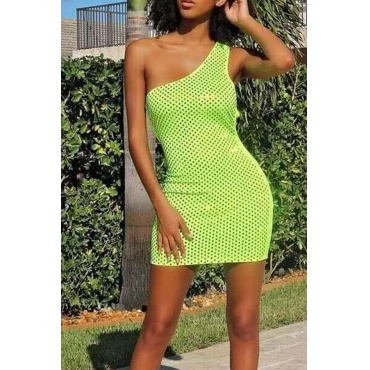 Lovely Sexy One Shoulder Green Mini Evening Dress