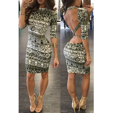 Lovely Sexy Backless Multicolor Knee Length Dress