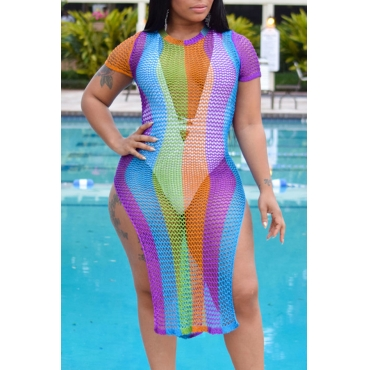 Lovely Sexy Hollowed-out Multicolor Beach Dress