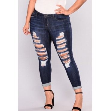 Lovely Work Broken Holes Deep Blue Jeans