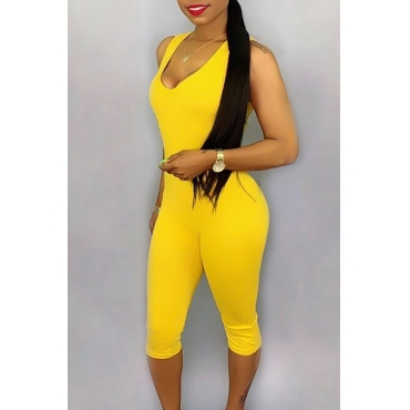 Lovely Casual V Neck Yellow One-piece Romper