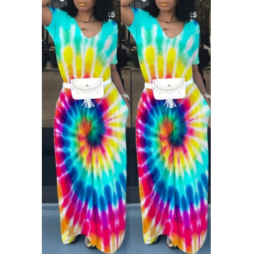 Lovely Casual V Neck Printed Floor Length Dress(Without Waist Pack)