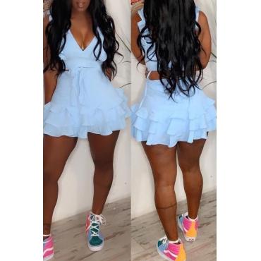Lovely Stylish V Neck Ruffle Design Baby Blue Two-piece Skirt Set