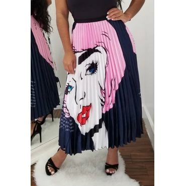 Lovely Sweet Portrait Printed Pink Ankle Length Skirts
