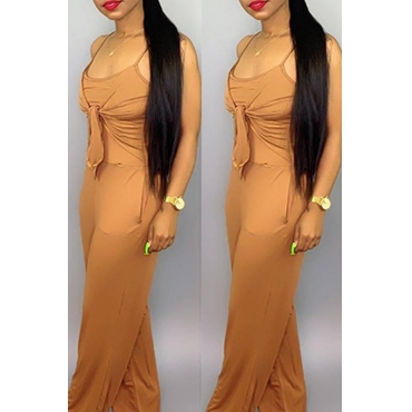 Lovely Casual Knot Design Khaki One-piece Jumpsuit